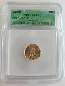 2005 $5 American Gold Eagle MS70 ICG