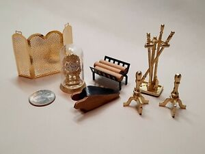 Dollhouse Miniature - Fireplace Accessories, set of 10 pieces