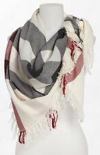 BURBERRY Check Merino Wool Scarf Ivory Check
