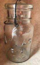 Vintage~ATLAS E-Z SEAL~Clear~Jar~QT~Lid~Wire Bale~Decor~Long Neck~Rare~USA~#5~