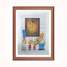 The Simpsons vs Gustav Klimt - The Kiss  - dictionary art print home bart homer
