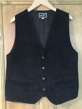 Ladies Vintage Black Suede Leather Waistcoat/Size Small/1970's/80's/Anyway