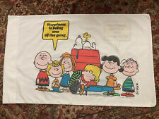 """New ListingVintage 1971 """"Peanuts Snoopy & Gang� Happiness PillowCase / Charles Schulz / Vg"""