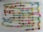 Vintage Glass Bead Garland Multicolored Fancy Shapes Indents Tubes Ribbed 11+ Ft