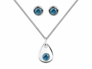 Sterling Silver 925 Earrings & Necklace Birthstone Gift Sets - Choose Stone