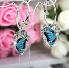 Women Lady Crystal Diamante Blue Butterfly Hoop Silver Earrings Hoop For Women