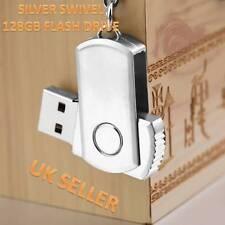 128gb Stainless Silver Swivel USB 2.0 Flash Drive Memory Stick Storage Pen
