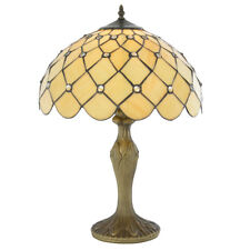 "16"" Tiffany Style Jewel Table Lamp Light Honey Shade in Antique Brass Litecraft"