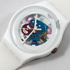 swatch new gent white lacquered suow100 orologio skeleton unisex da collezione