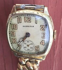 Hamilton 987  Square Engraved Hand Wind Gent's Watch 14KGF.
