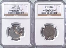 1993 25c Chain Strike Mated Pair Mint ERROR NGC MS-64