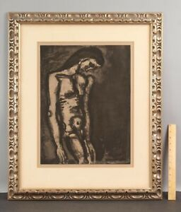 1922 Large Antique GEORGES ROUAULT Aquatint Etching, MISERERE III Nude Man NR