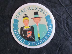 Alter Kofferaufkleber Etikett aus den 50er/60er Jahren Hotel Steierhof Graz