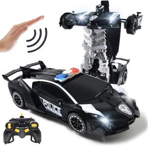 Carros A Control Remoto RC 1:14 Robot Policia De Transformer Juguetes Para Niños