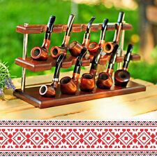 Sale Collection Set of 10 Tobacco Pipes Pear Wood+Stand Holder Ash Wood Handmade