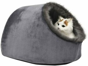 Cat Small Dog Cosy Bed Pets Igloo Bed Hideout Cave, Cushion Washable, grey