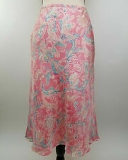 Ann Taylor Size 2 Bias Cut Silk Skirt Pink Coral Aqua Paisley Lined Modest