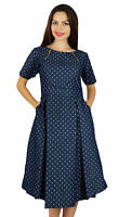 Bimba Womens Blue Chambray Pleated Dress With Pockets Chic Casual Midi Dresses