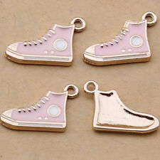 10pc Pink Sneakers Pendant Charm Beads Enamel Accessories Jewelry Making 1081#