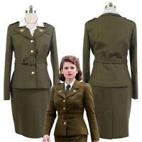 Captain America Agent Peggy Carter Cosplay Costume Avengers Women Uniform Dress
