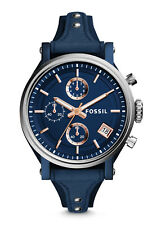 FOSSIL Boyfriend Burgundy Dial Blue Leather Ladies Chronograph Watch ES4113