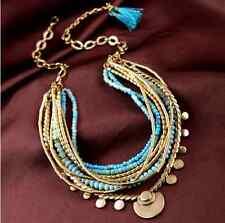 Dot &Line stella multi layer Versatile aqua blue Isa Disc dot layering necklace