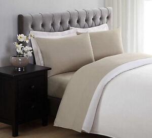 Truly Soft Everyday 4-Piece Solid Twin Sheet Set Pillowcases Khaki Tan New
