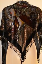 Western Fashion Shawl Wrap Velvet Burnout Sequin Beaded Graphic Woman Cover Up