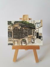 ACEO original miniature painting 'THE  OLD MITRE' LONDON pub  By Flumy
