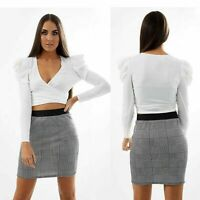 Ladies Office Check Hounds Tooth Tarton Printed Band Bodycon Mini Pencil Skirt