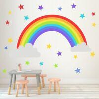 Rainbow Star Vinyl Wall Stickers Kids Room Bedroom Playroom Decals Home Stic uW