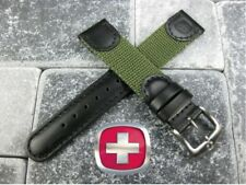 New Black Leather Strap Nylon Watch Band 20mm 19mm 18mm Wenger Swiss Army Green