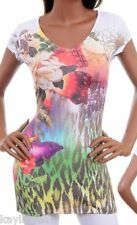 Tropical Butterfly/Leopard Sublimation/Tattoo Tee Top S