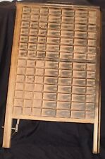 Antique Printer's Tray Wooden Typeset Drawer 98 Slots Metal Front