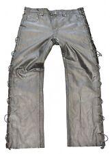 "Black Leather RICANO Lace Up Biker Motorcycle Men's Trousers Pants Size W35"" L31"