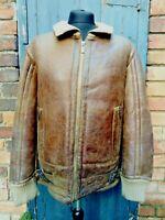 Men's Dirk Bikkembergs Sheepskin Leather Pilot Flight Jacket - Size L - Brown