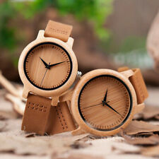BOBO BIRD Couples Watch Natural Bamboo Wristwatches Leather Strap