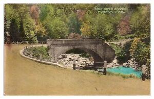 1945 Cold River Bridge, Mohawk Trail, MA Hand-Colored Postcard *6S20