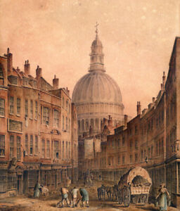 Signed T Girtin Original 1800 Watercolour Painting St. Paul's Cathedral London