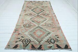"Turkish Esme  Kilim, Living Area Rug, Carpet, Dining Room Rugs, Teppich 56""x106"""