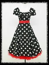 dress190 Chiffon Black Polka Dot 50's Cap Sleeve Rockabilly Party VTG Dress 8-24