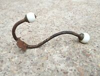 Antique Ornate Victorian Dual Side Ceramic Knobs Iron Brass Wall Hook Hanger