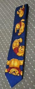 The Disney Store - Winnie The Pooh - 'Tumbling Pooh' Silk Tie *RARE* - FREE POST