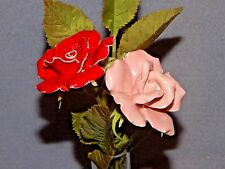 VINTAGE - Pair of Roses, Pink & Red - CUT GLASS - w/ Crystal Vase - BEAUTIFUL!
