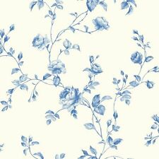 York Wallcoverings KH7076 White / True Blue / Light Blue Rose Toile Wallpaper