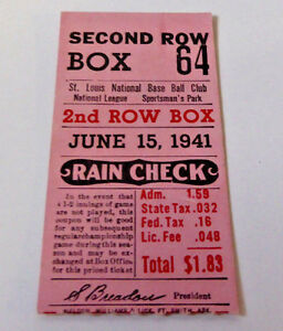 VINTAGE JUNE 15, 1941 SAINT LOUIS CARDINALS TICKET STUB~ SPORTMAN'S PARK~