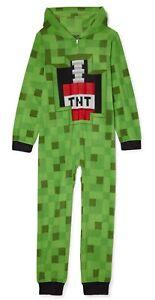 Sz 4-16 Minecraft One Piece Pajamas Creeper Hoodie Union Suit Boy Girl NWT NEW