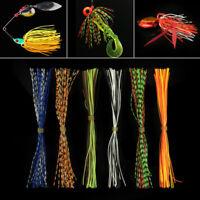 -Bass Fishing-Fishing 10 Custom Made Silicone Spinnerbait Skirts Clear//OrangeTip