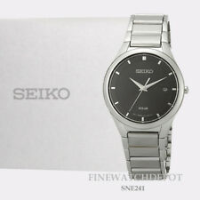 Authentic Seiko Men's Solar Black Dial Stainless Steel Watch SNE241