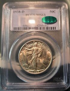 1938-D Walking Liberty Half Dollar PCGS MS63 CAC~ PQ All White Key Date Coin